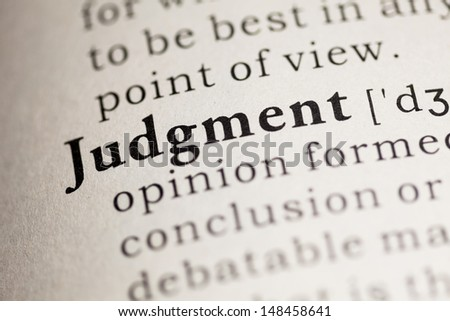 Fake Dictionary, Dictionary definition of the word Judgment.
