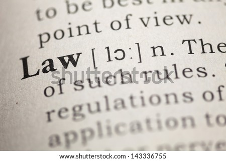 Fake Dictionary, Dictionary definition of the word law.  - stock photo
