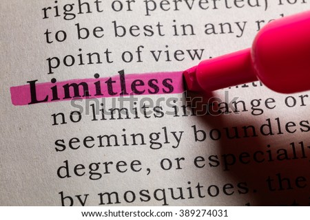 Fake Dictionary, Dictionary definition of the word Limitless. - stock photo