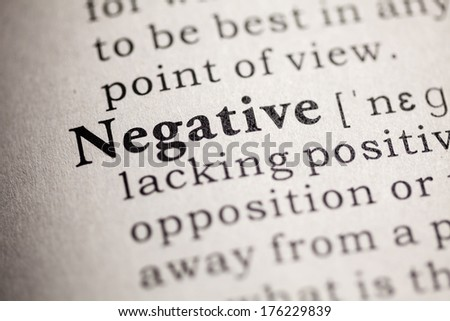 Fake Dictionary, Dictionary definition of the word negative.