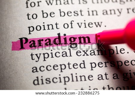 Fake Dictionary, Dictionary definition of the word paradigm. - stock photo