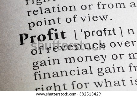 Fake Dictionary, Dictionary definition of the word profit. - stock photo