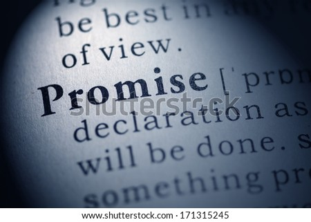 Fake Dictionary, Dictionary definition of the word promise. - stock photo