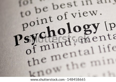 Fake Dictionary, Dictionary definition of the word Psychology. - stock photo