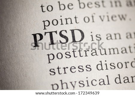 Fake Dictionary, Dictionary definition of the word PTSD. Post Traumatic Stress Disorder  - stock photo