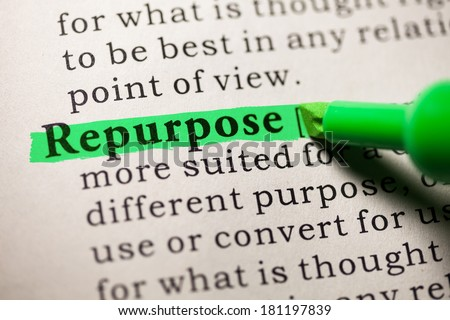 Fake Dictionary, Dictionary definition of the word repurpose. - stock photo