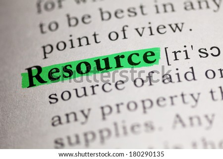 Fake Dictionary, Dictionary definition of the word Resource. - stock photo