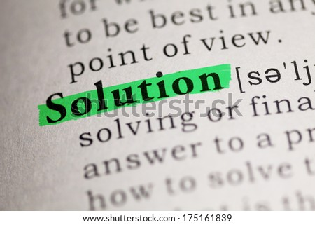 Fake Dictionary, Dictionary definition of the word Solution. - stock photo