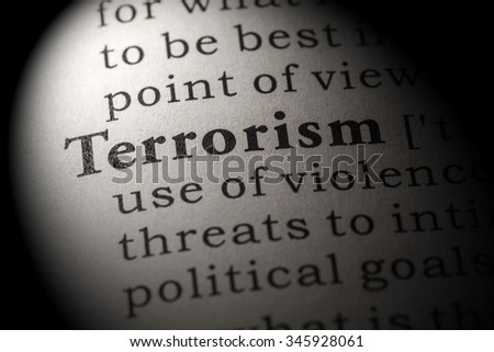 Fake Dictionary, Dictionary definition of the word terrorism - stock photo