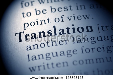 Fake Dictionary, Dictionary definition of the word Translation. - stock photo