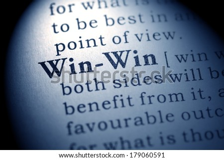 Fake Dictionary, Dictionary definition of the word win-win. - stock photo