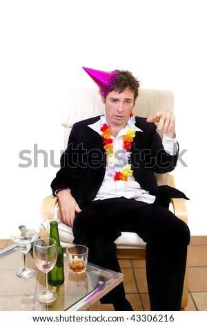 fake drunk acting like a boob business man at christmas party or new years eves party concept - stock photo