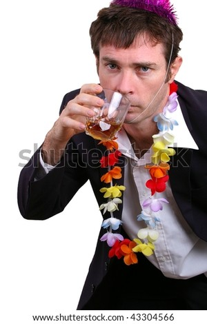 fake drunk boob business man at christmas party or new years eves party concept - stock photo
