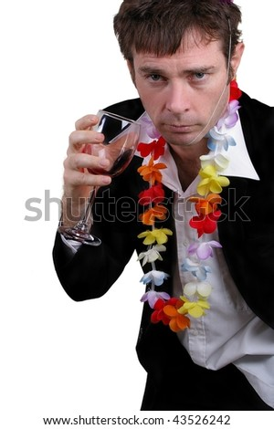 fake drunk  business man at christmas party or new years eves party concept - stock photo
