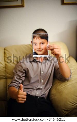 Fake face portrait - stock photo