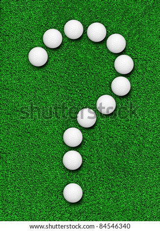 Fake grass and golf ball line as question symbol - stock photo