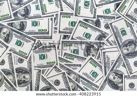 Fake money background. Background from a variety of one hundred dollar bills. - stock photo