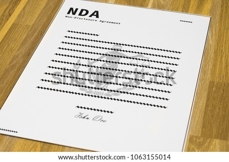 Fake NDA Form Angled Mockup Nondisclosure Stock Photo Royalty Free