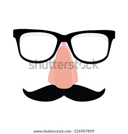 Fake nose and glasses humor mask raster illustration. Disguise glasses, nose and mustache. Funny glasses - stock photo