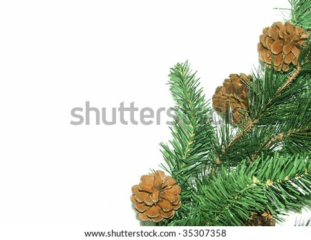 Fake pine tree decoration with white background for text - stock photo