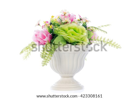 Fake roses,Plastic roses, selective focus - stock photo