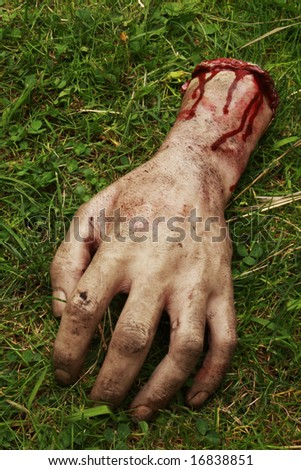 Fake Severed Hand with Blood - stock photo