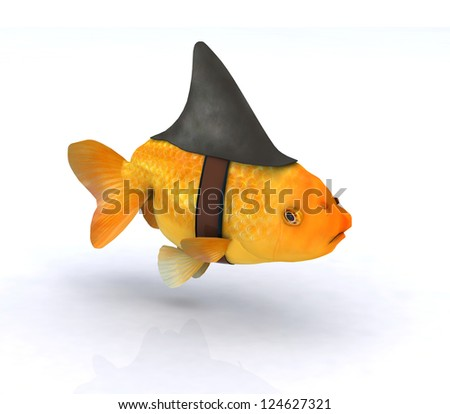 fake shark fin on little redfish, 3d illustration - stock photo
