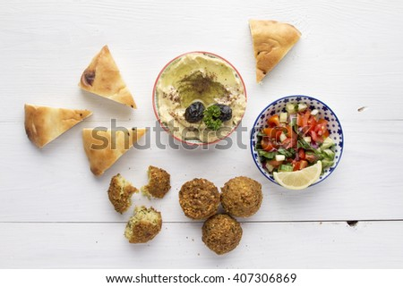 Falafel with hummus and pita bread - stock photo