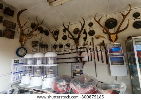 FALAM, MYANMAR - JUNE 18 2015: Deer antlers for sale in Falam Town in the recently opened to foreigners area of Chin State - western Myanmar (Burma) - stock photo