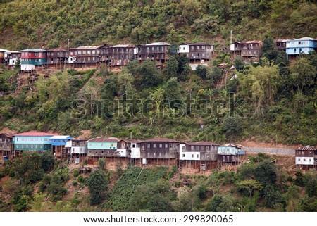 Falam Town , Chin State Mountain Region, Western Myanmar (Burma) - stock photo