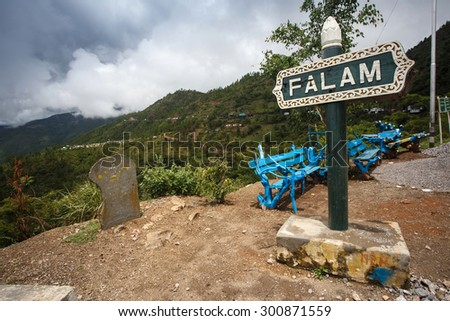 Falam Town Sign , Chin State, Western Myanmar (Burma) - stock photo