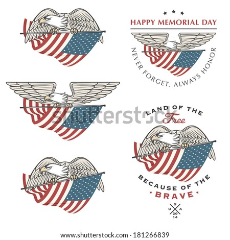 Falcon (eagle) flying with American flag. Independence and Memorial Day design elements - stock photo