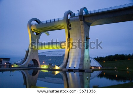 Falkirk Canal Wheel, Scotland At Night - stock photo