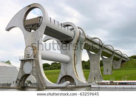 Falkirk Wheel, the world's first rotating boatlift, Scotland, UK, Europe - stock photo
