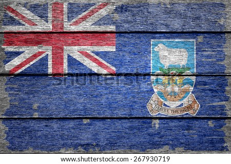 Falkland Islands flag on old wood texture background