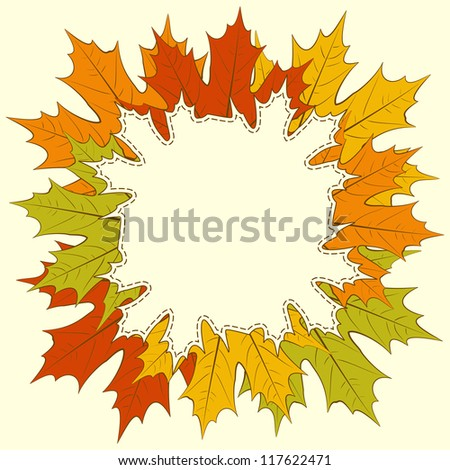 Fall background and frame with maple leaves, with space for text or image.