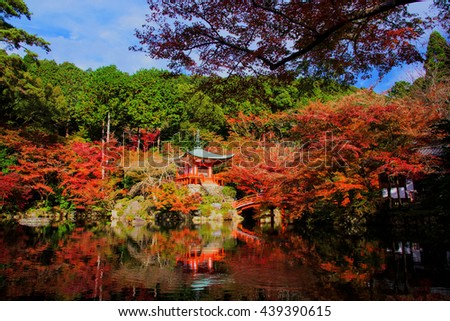 fall color at Daigoji temple in Kyoto, Japan. Here is very famous Kyoto landmark during Autumn season. - stock photo