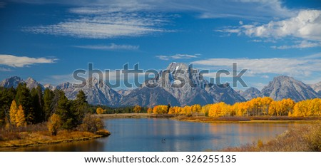 Fall Color at Ox Bow Bend - stock photo