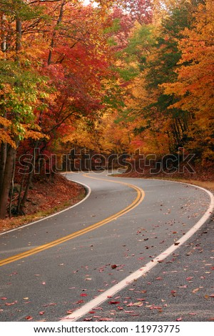 Fall color on curvy road over Fort Mountain in Northwest Georgia. - stock photo