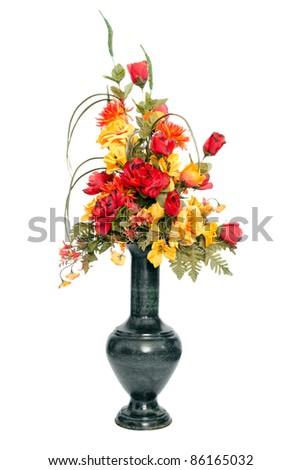 Fall color silk flower arrangement in urn - stock photo