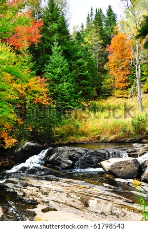 Fall colors and steam cascading over rocks - stock photo