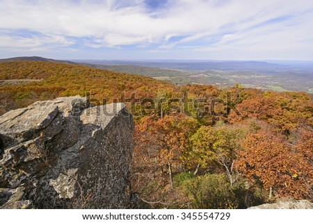 Fall Colors from a Mountain Outcrop in Shenandoah National Park in Virginia - stock photo