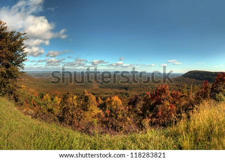 Fall colors in a massive open valley in Arkansas. - stock photo