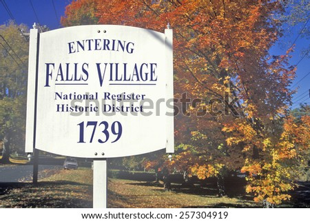 Fall colors in Falls Village along scenic highway, U.S. Route 7, Connecticut - stock photo