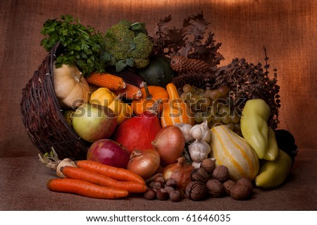 Fall cornucopia setting - stock photo