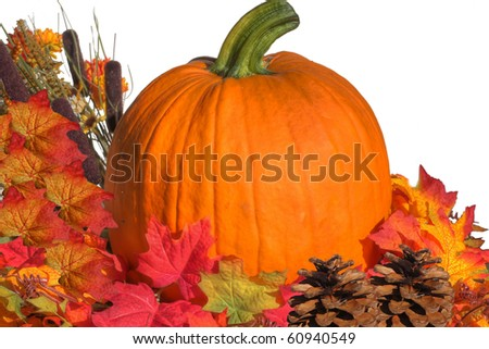 Fall Flowers with Pumpkin - stock photo
