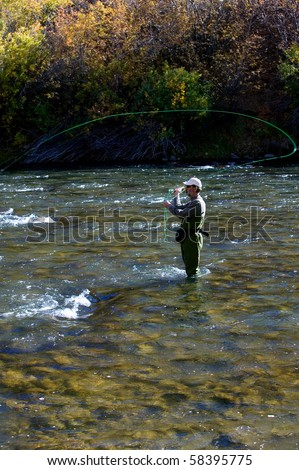 Fall fly fishing in the Truckee River near Reno, Nevada.