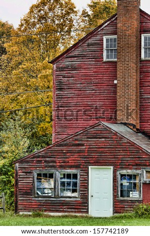 Fall foliage behind an old barn, Coventry, Connecticut