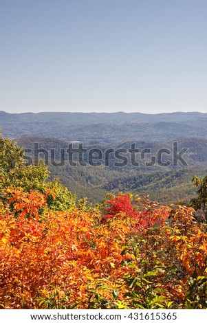 Fall Foliage in the Mountains - stock photo