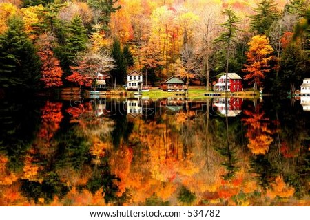 fall foliage lake reflections